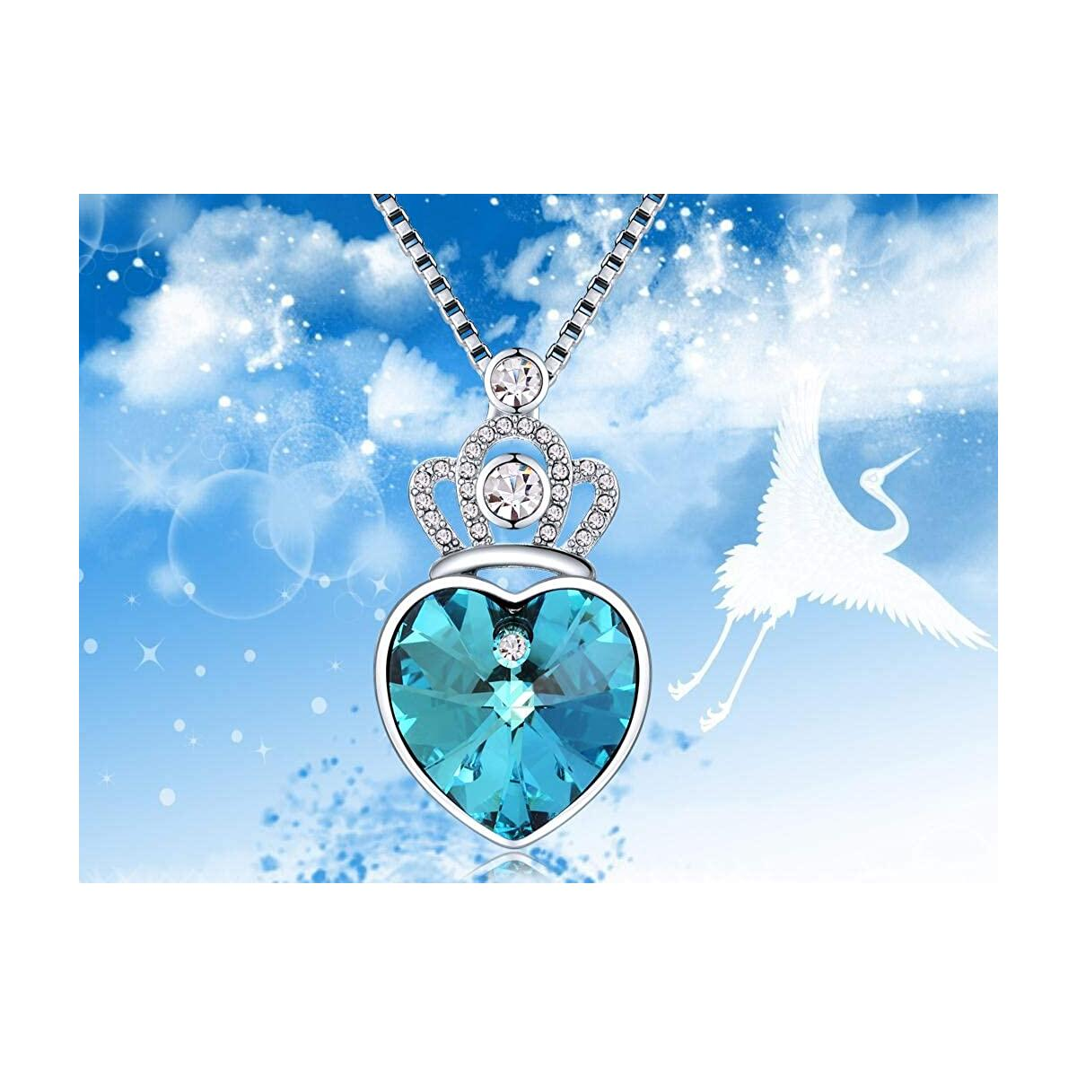 Crown Necklace Blue Heart Crystal Pendant
