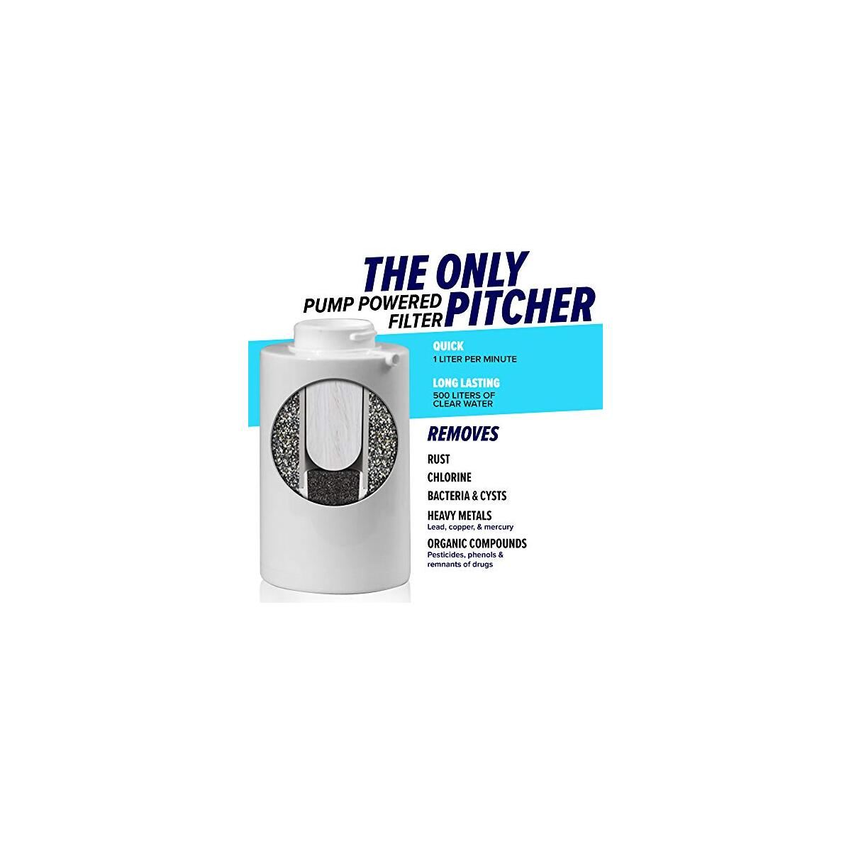 Nakii Pitcher Water Filter with Pump by Aquaphor – Strongest Water Filtration System On The Market Eliminates Bacteria, Lead, Chlorine, and Other Heavy Metals – Large White/Clear