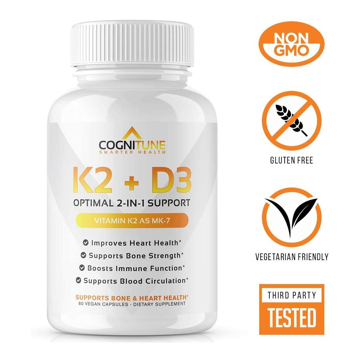 Vitamin D3 5000 IU with Vitamin K2 (MK7) Supplement - Premium Immune, Heart & Bone Health Capsules - Vitamin D3 K2 Complex with 5000 IU of Vitamin D 3 & 90 mcg of Vitamin K 2 - 60 Count
