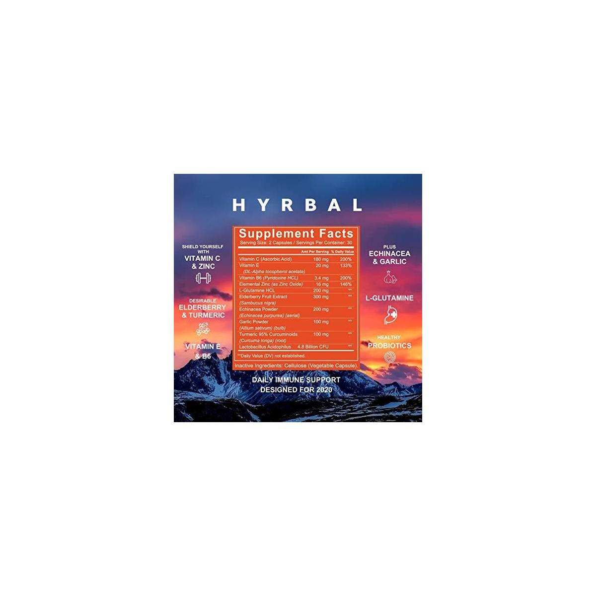 HYRBAL Defend Immune Support - New for 2020! Premium Daily Emergency C Immune Support with Zinc - Best Immune Defense All-Natural Immunity Booster with Elderberries, L-Glutamine, Echinacea, Turmeric, Vitamin C and E