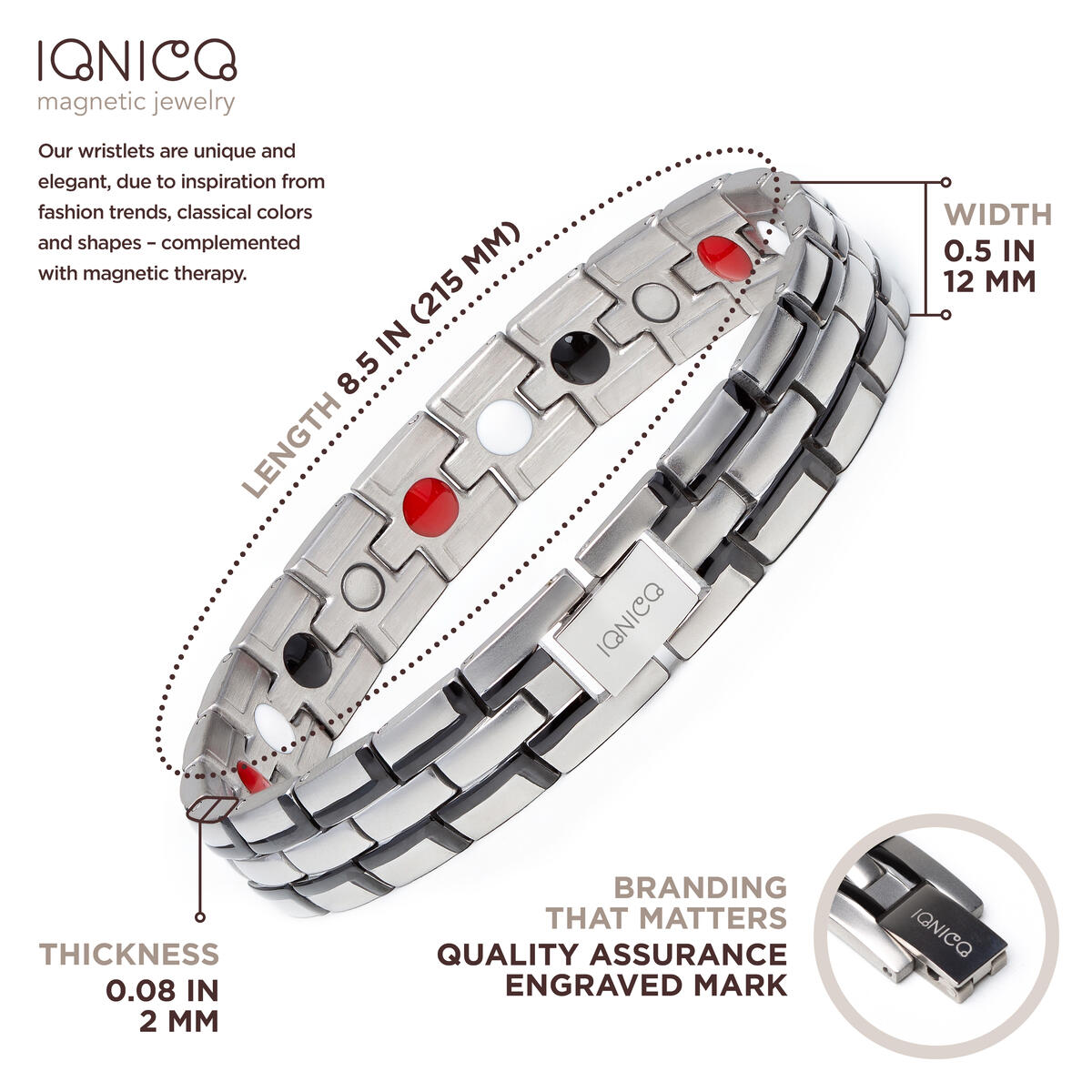 IONICO Stylish Magnetic Therapy Bracelet for Men and Women Health Improvement | Reliefs Arthritis, Carpal Tunnel, Migraine, Headache Pain, Blood Pressure | Strong Energy Healing Power (Silver-Black)