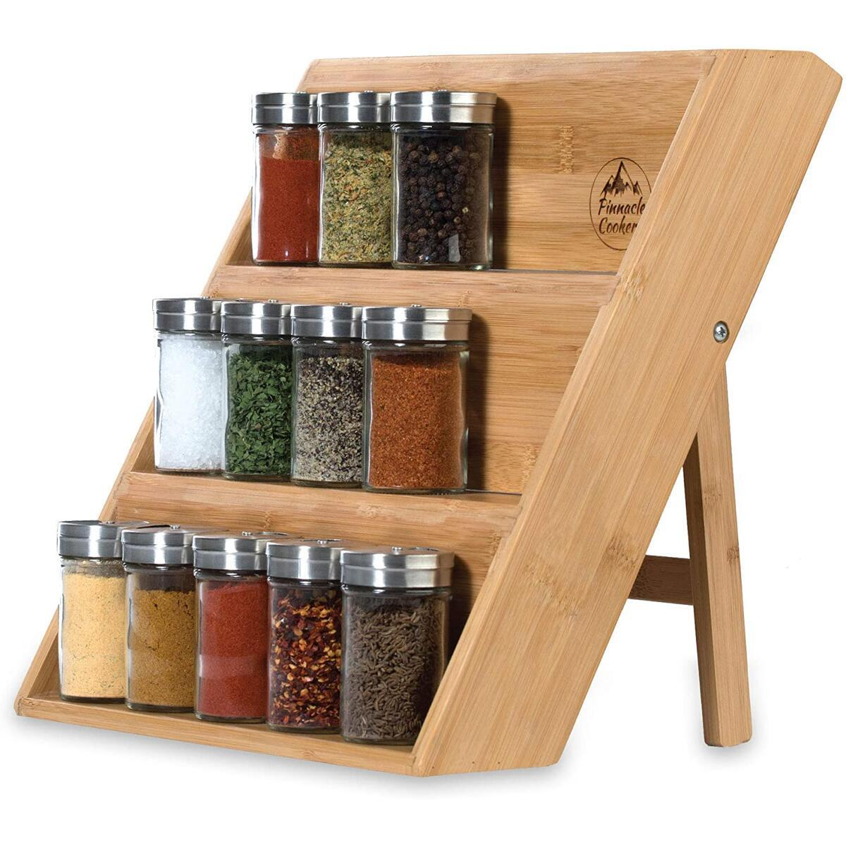 Pinnacle Cookery Bamboo Spice Rack Organizer for Countertop - Eco Friendly Seasoning Organizer 3-Tier Spice Shelf - Space Saving Wooden Spice Rack