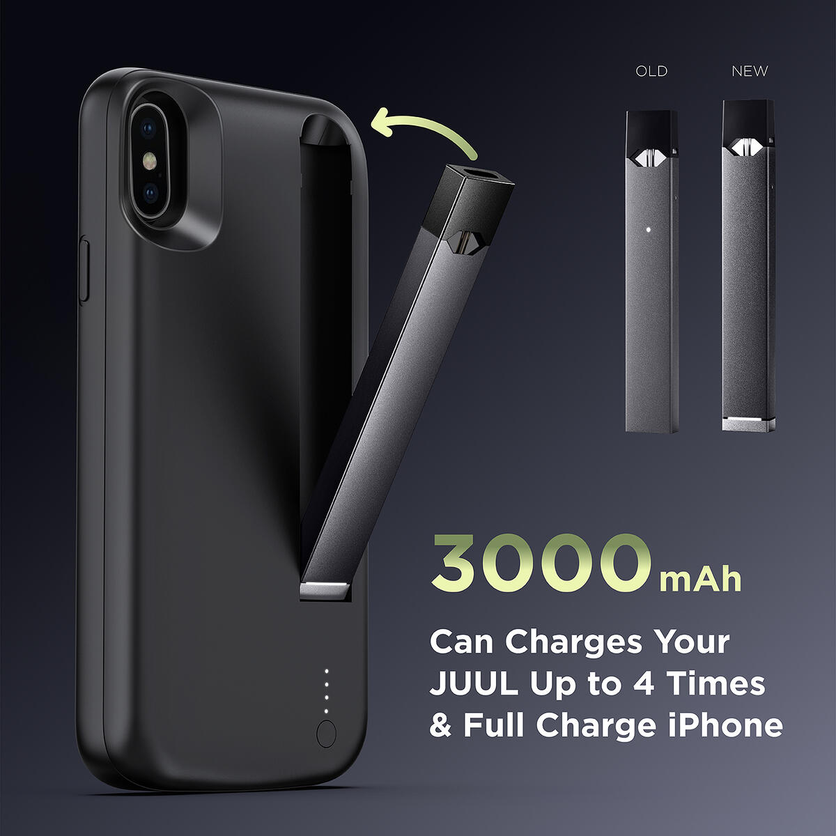 INGNOK Battery Case for iPhone X/XS, 2020 Upgraded [Charger for JUUL] Can Charger for iPhone and Device, Smart Portable Charger Case with Built-in JUUL Charging Port- Black