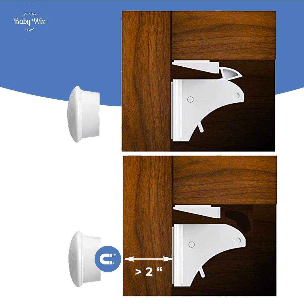Baby Wiz Adhesive Magnetic Safety Lock for Cabinets and Drawers, 12 Locks & 2 Keys