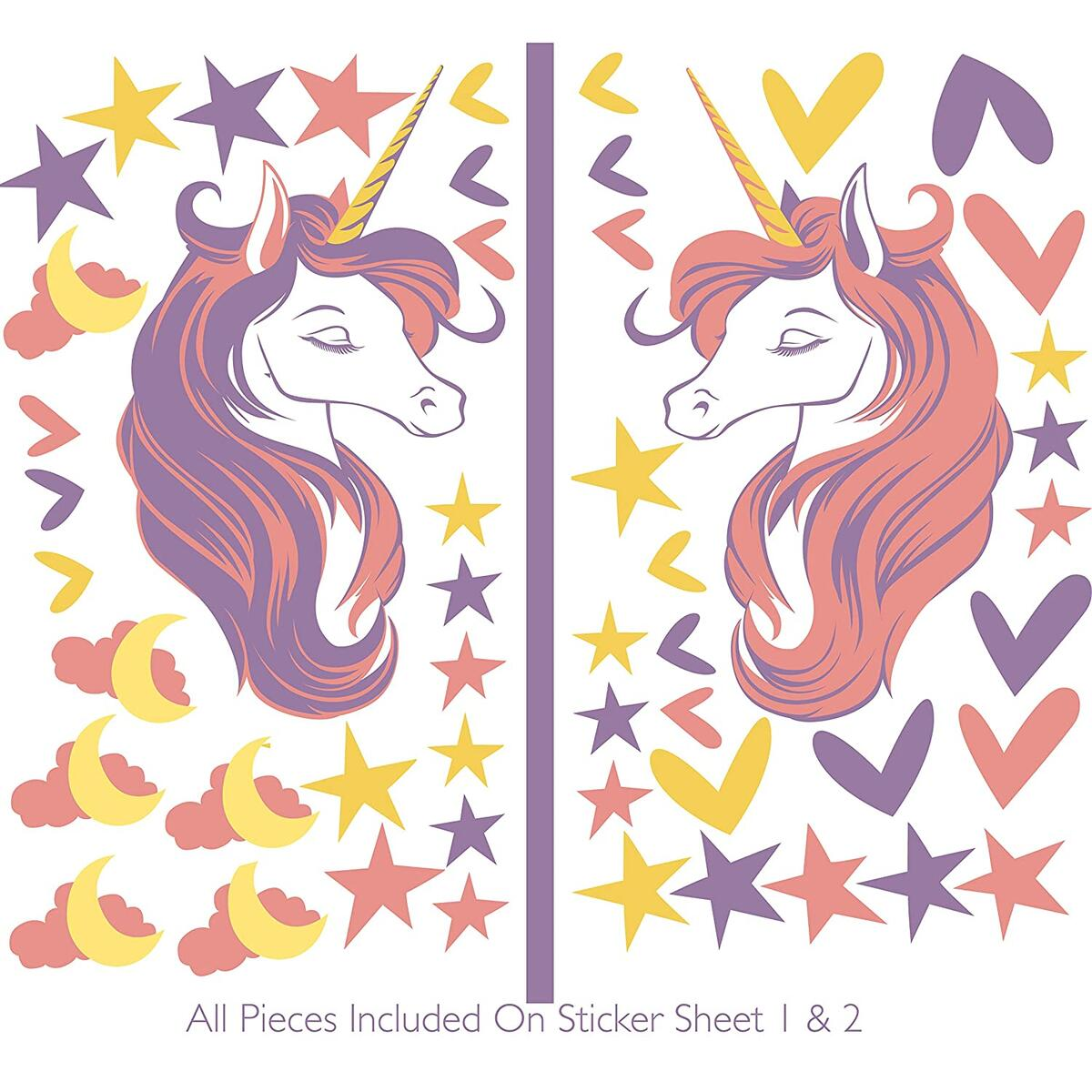 Pretty Unicorn Faces Wall Decal Sticker Set with Hearts, Stars, Clouds, Moon for Girls Party, Bedroom, Nursery (Self Adhesive) Glossy PVC