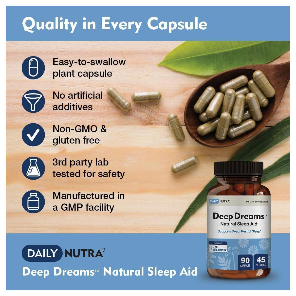 Deep Dreams Natural Sleep Aid by DailyNutra - Deep, Restful Sleep Supplement - Non-Habit Forming Sleeping Pills | with Melatonin, L-Tryptophan, Valerian, GABA, Chamomile, Passionflower