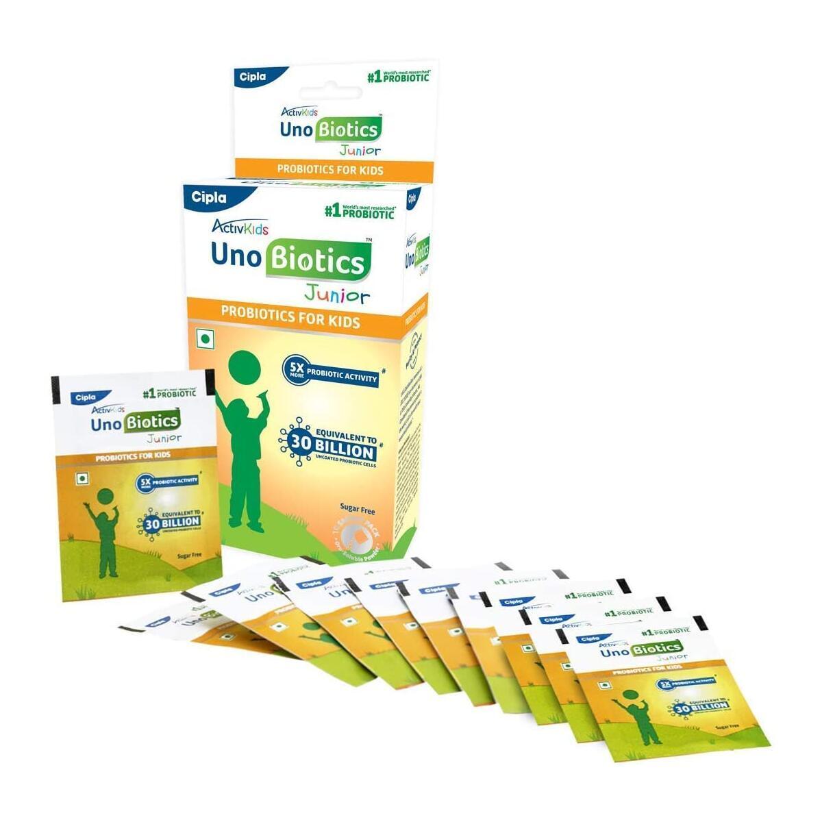 Cipla ActivKids Unobiotics Junior with 5X More Probiotic Activity-Helps Build Immunity & Refills Good Bacteria–Probiotics for Kids 10 Sachet Pack