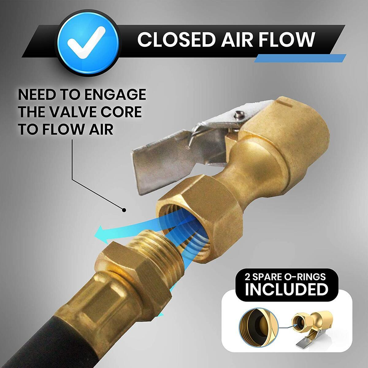 Air Chuck for Tires, Heavy Duty Lock On Tire Inflator Chuck with Clip