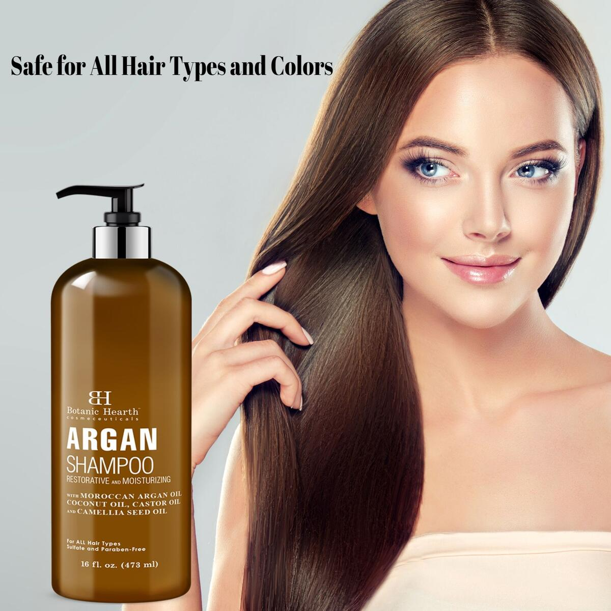 Argan Oil Shampoo, Hydrating & Volumizing, Sulfate & Paraben Free, All Hair Types & Color Treated Hair, Men and Women 16 fl oz