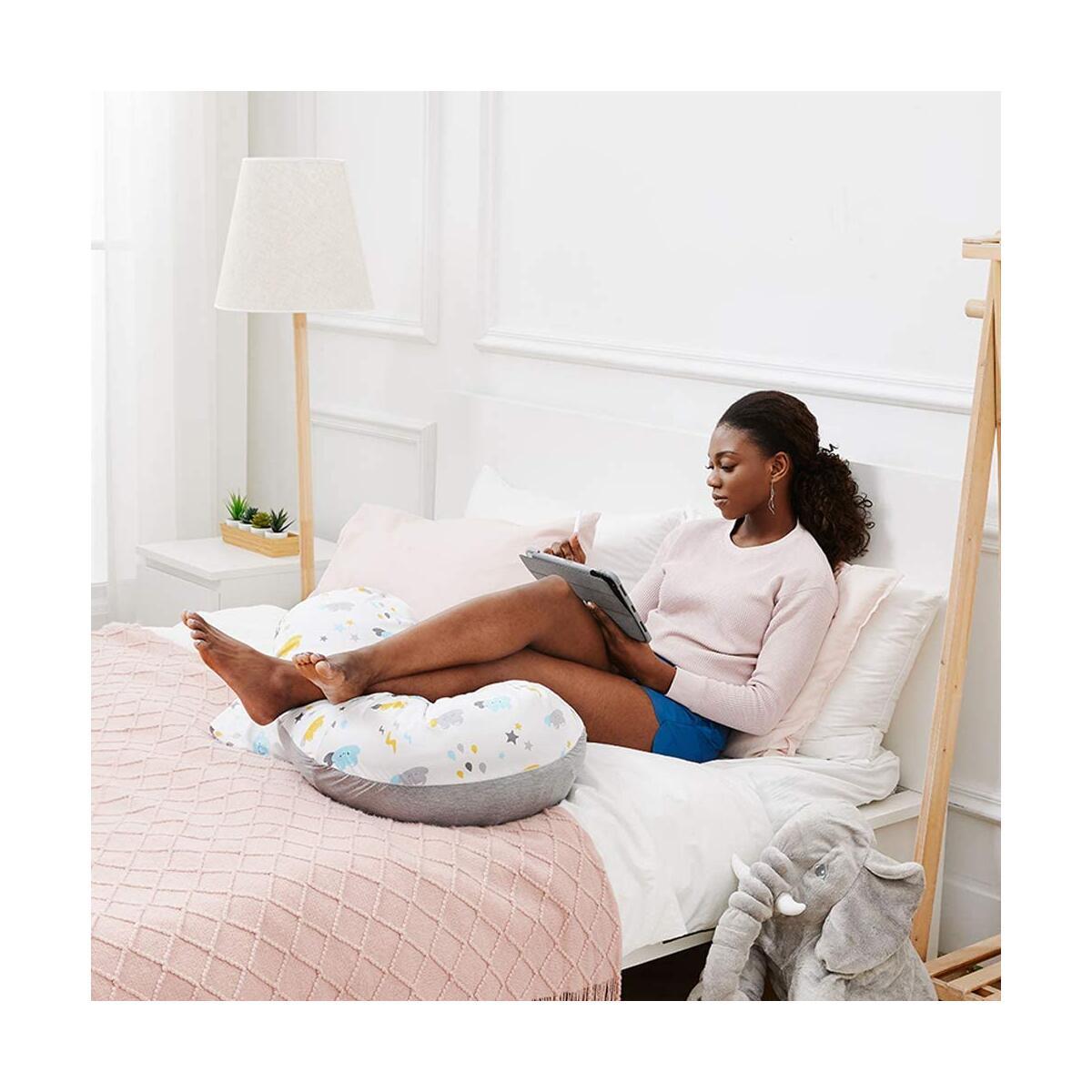 Unilove Hopo 3-In-1 Pregnancy Pillow, Breastfeeding Support & Newborn Lounger, Sky Gray
