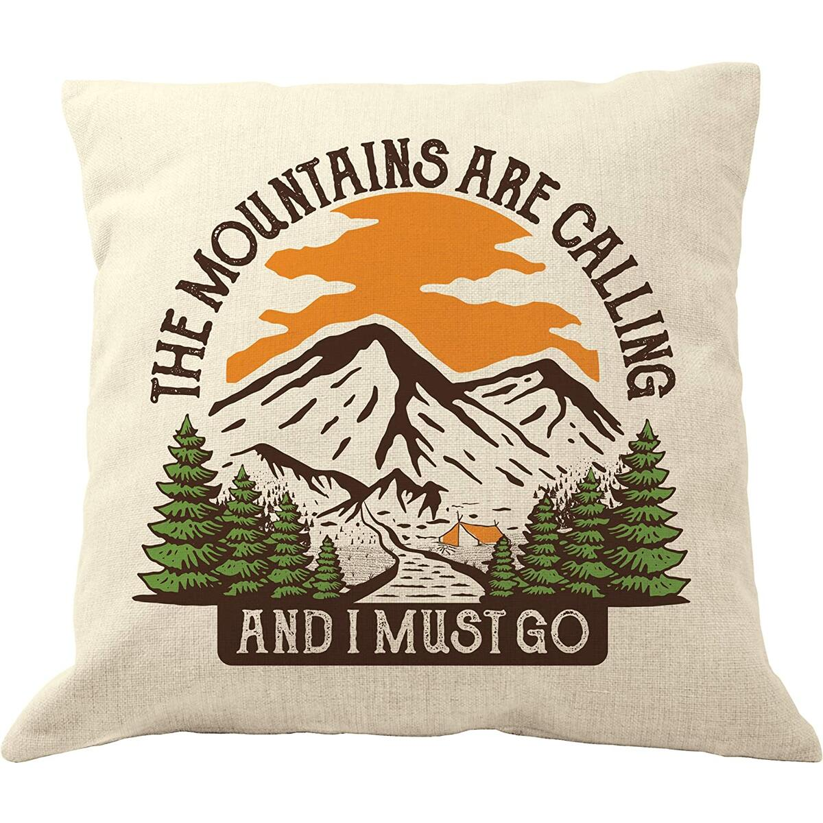 DrupsCo The Mountains are Calling Pillow Cover - 18 x 18 Camping Throw Pillow - The Mountains are Calling and I Must Go