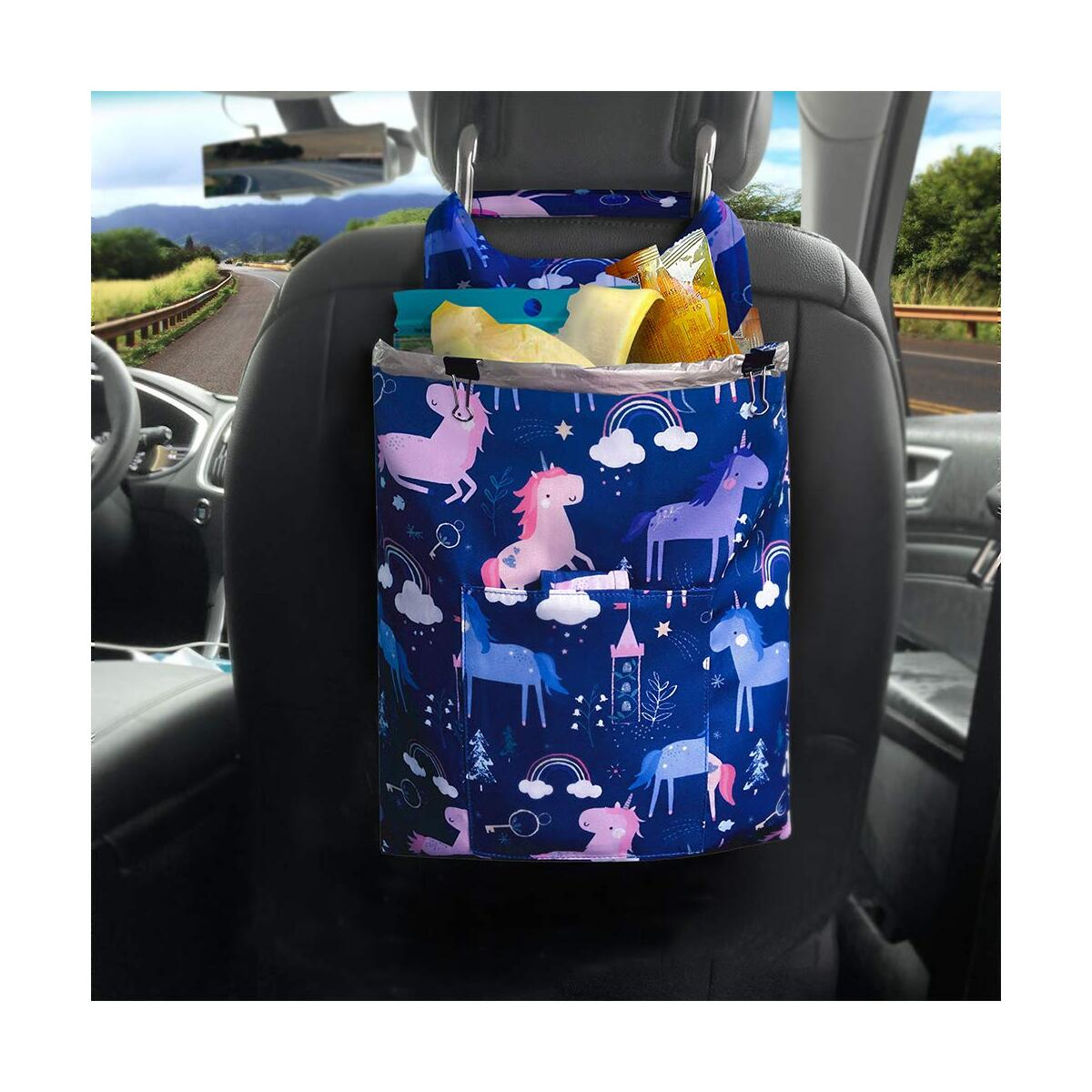 Car Trash Bag Cute Hanging Front Seat, LENDOUBLE Waterproof Travel Garbage Can for Auto with Small Pockets Container, Foldable Vehicle Waste Bin for Back Seat, SUV Console Velcro Litter Organizer (Variation)