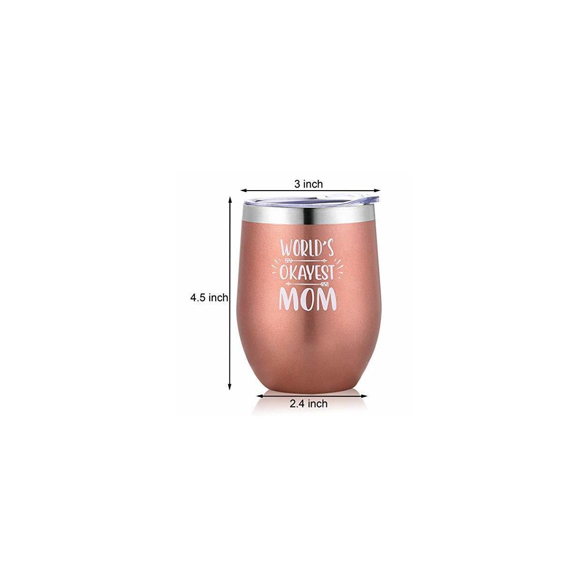 World's Okayest Mom Wine Tumbler with Lid - 12oz Insulated Stainless Steel Stemless Wine Glasses Cup – Birthday Christmas Gifts for Women, Wife, New Mom, Pregnant Mom, Aunt, Sister, Girlfriend