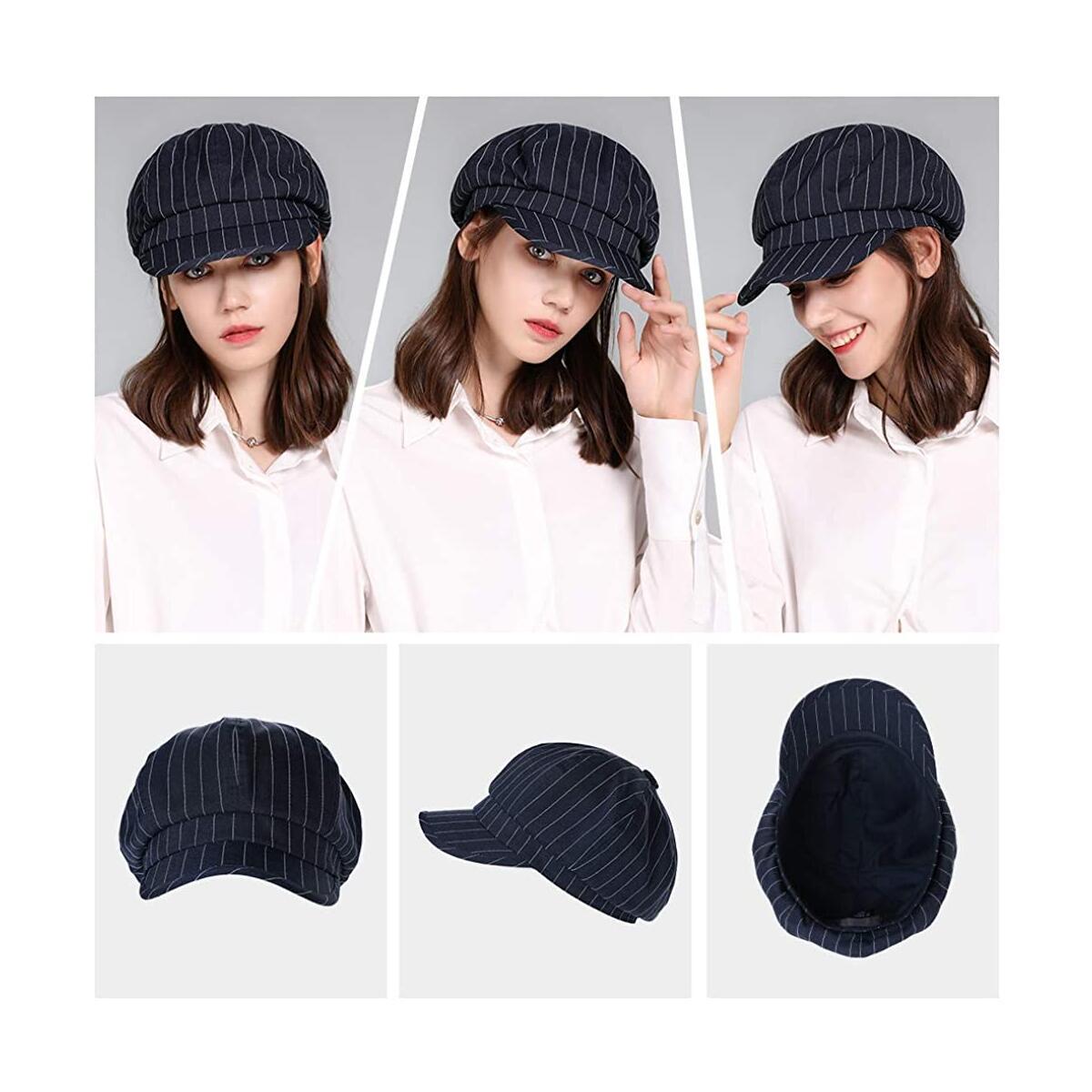 Fancet Packable Beret Newsboy Cap for Women Spring Summer Winter Gatsby Visor Hat 55-59 cm