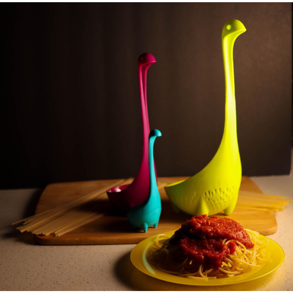 Ingeniuso Loch Ness Ladle Dinosaur Spoon |Dino Handle Scoop | Loch Ness Ladle Monster Strainer Colander | Baby Tea Ball Infuser | Spoons Shaped like Dinosaurs | Adorable Gift Set