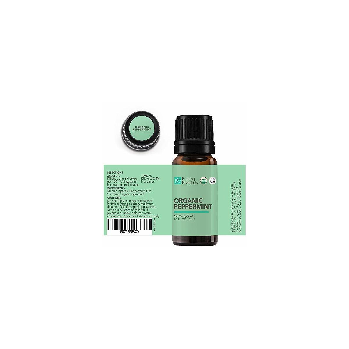 Bloomy Essentials Organic Peppermint Essential Oil 10 mL (1/3 oz) - USDA Certified Organic - Mentha Piperita to Repel Mice Spiders - 100% Pure, Undiluted, Therapeutic Grade