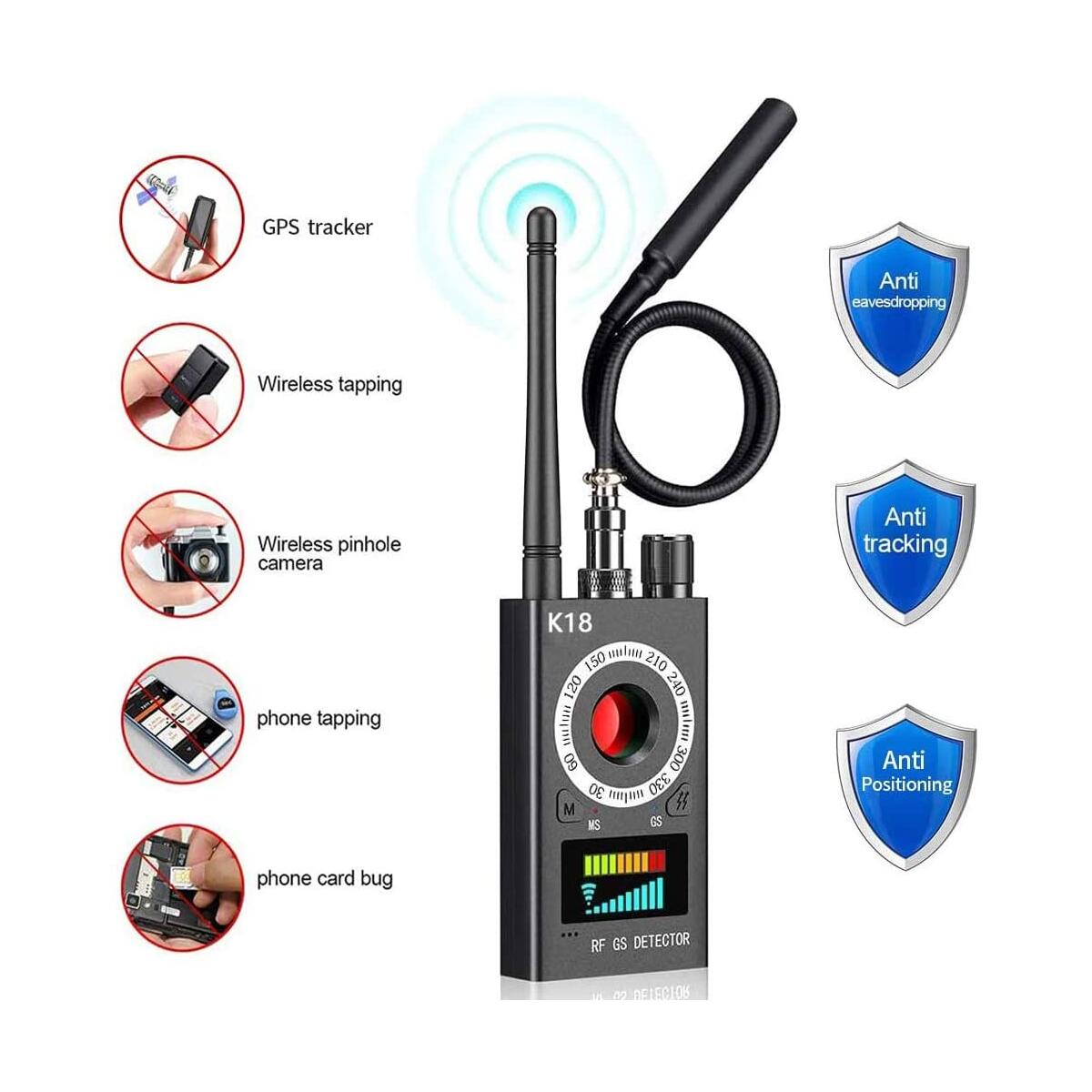 ILamourCar Anti Spy Detector, Camera Finder RF Signal Detector GPS Bug Detector Wireless Hidden Camera Detector for GPS Tracking GSM Listening Device Finder - Black