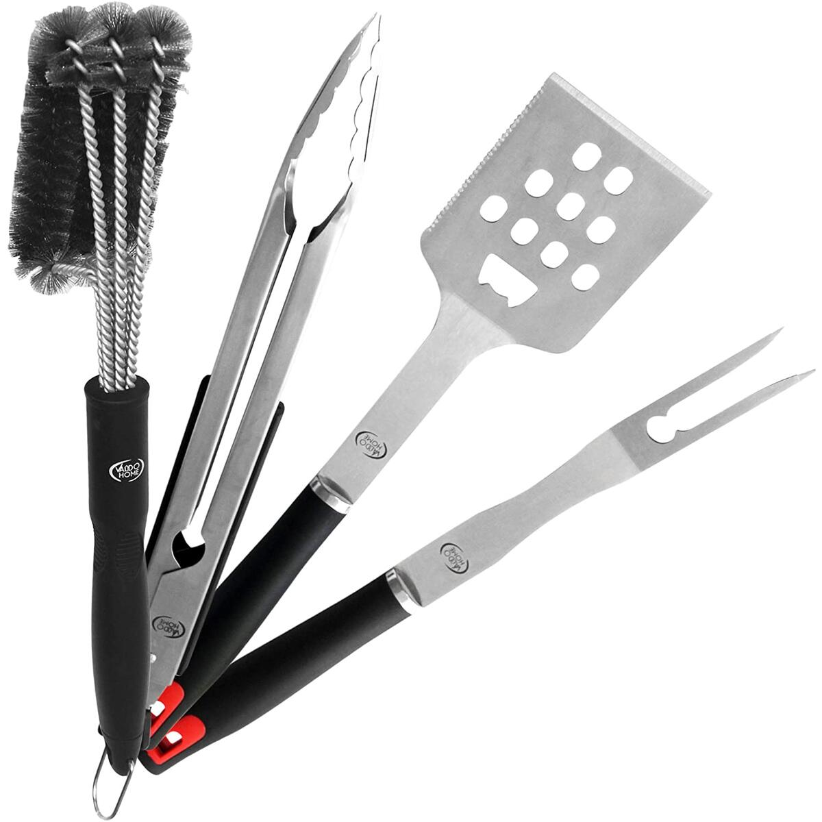 Heavy Duty BBQ Grill Tool Set Stainless Steel Utensils Kit Locking Tongs , Spatula , Fork , Barbecue Grill Cleaning Brush