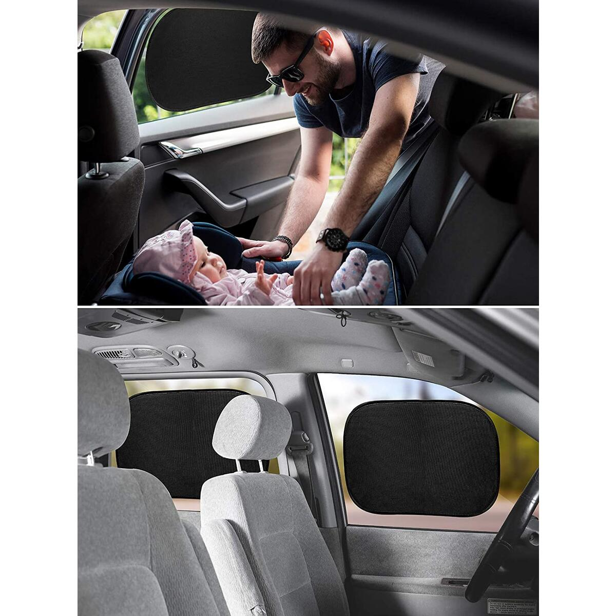 Zone Tech Car Window Shade- 2 Pack- Cling Sunshade for Side Window Universal Fit Breathable Blocking UV- Static Cling Mesh Easy Installation Stretchable Protects Baby Kids Pet, Fits Cars Trucks SUV
