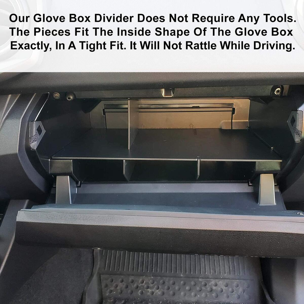 Glove Box Organizer Divider Compatible with Toyota Tacoma, Glove Compartment Interlocking Insert Dividers, Car Accessories for Years 2016-2017-2018-2019-2020 for All Models, Black