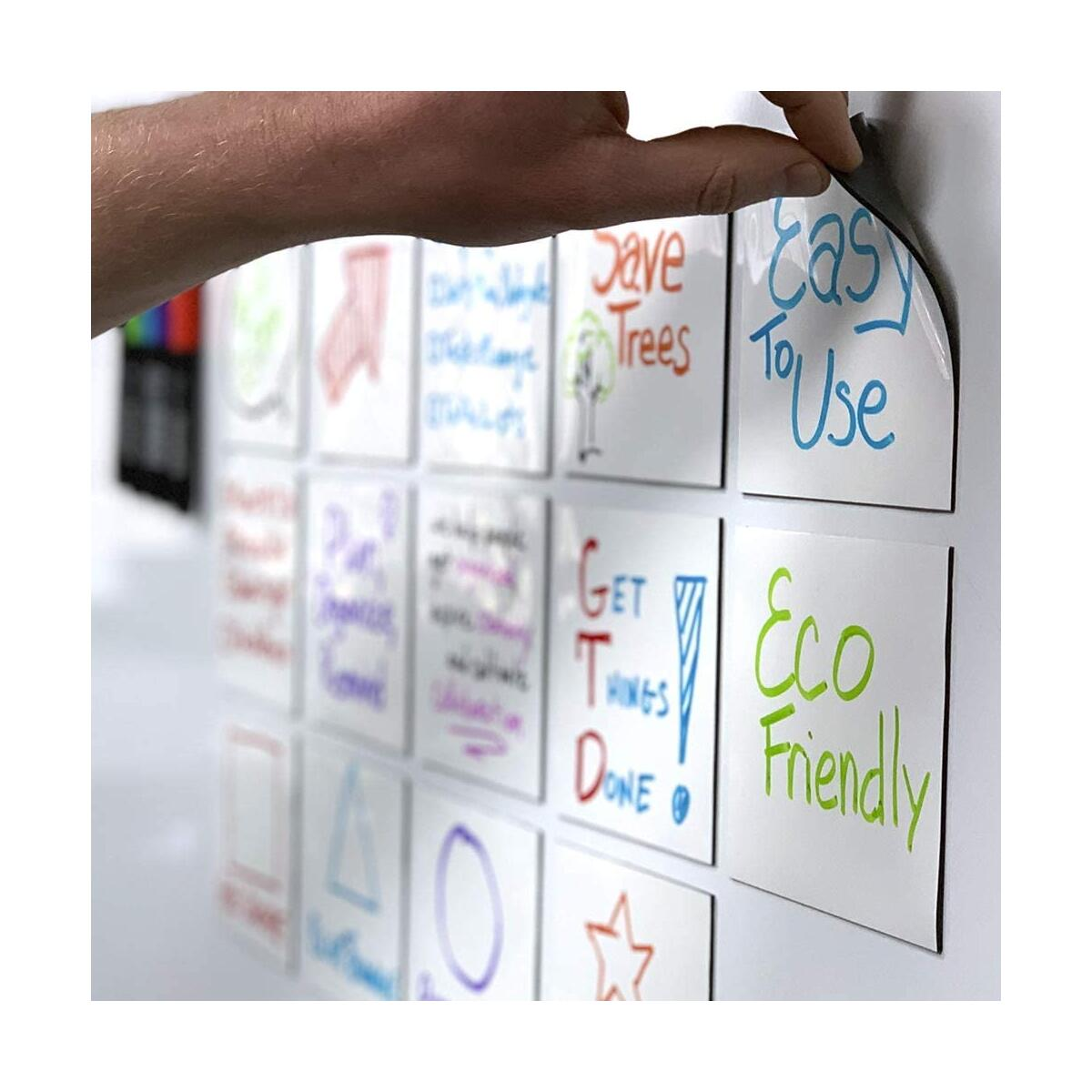 mcSquares 4x4 Dry-Erase Sticky Notes | 6-Pack Reusable White Board Stickers with Free Tackie Marker…