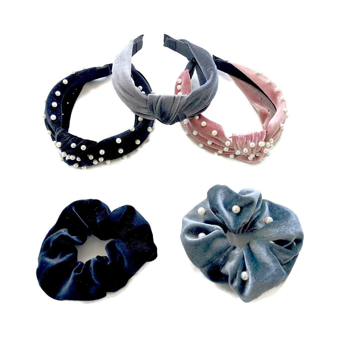 Qumii Velvet Fashion Headbands with 2 Bonus Scrunchies - Knotted Headbands for Women and Girls