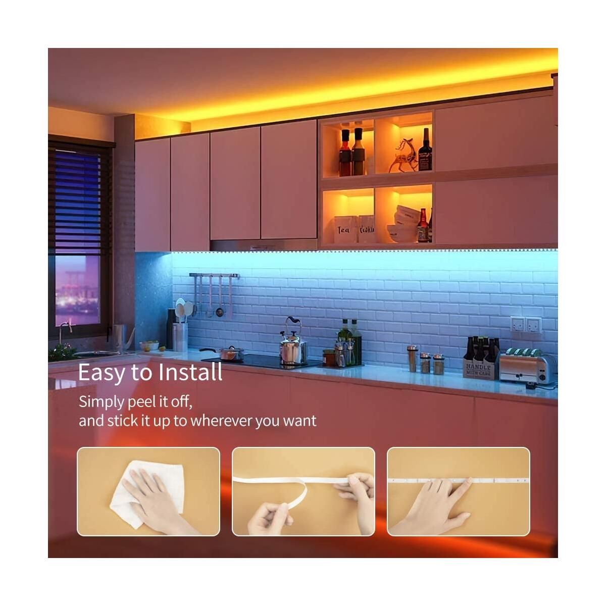 LED Strip Lights 32.8ft, LED Lights for Bedroom SMD 5050 12V, LED Lights RGB Color Changing LED Lights Strip with Remote for Kitchen, Room, Ceiling, Party, Home Decoration, Non-Waterproof