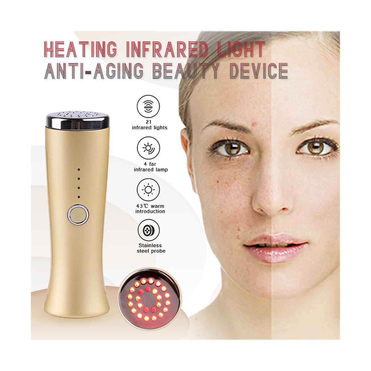 Red Light Therapy LED Infrared - Face Lift Skin Rejuvenation - Face Tightening Instrument - Galvanic Machine Anti Aging Device Wrinkle Removal Wand (Rebate applicable on eBay purchase only)