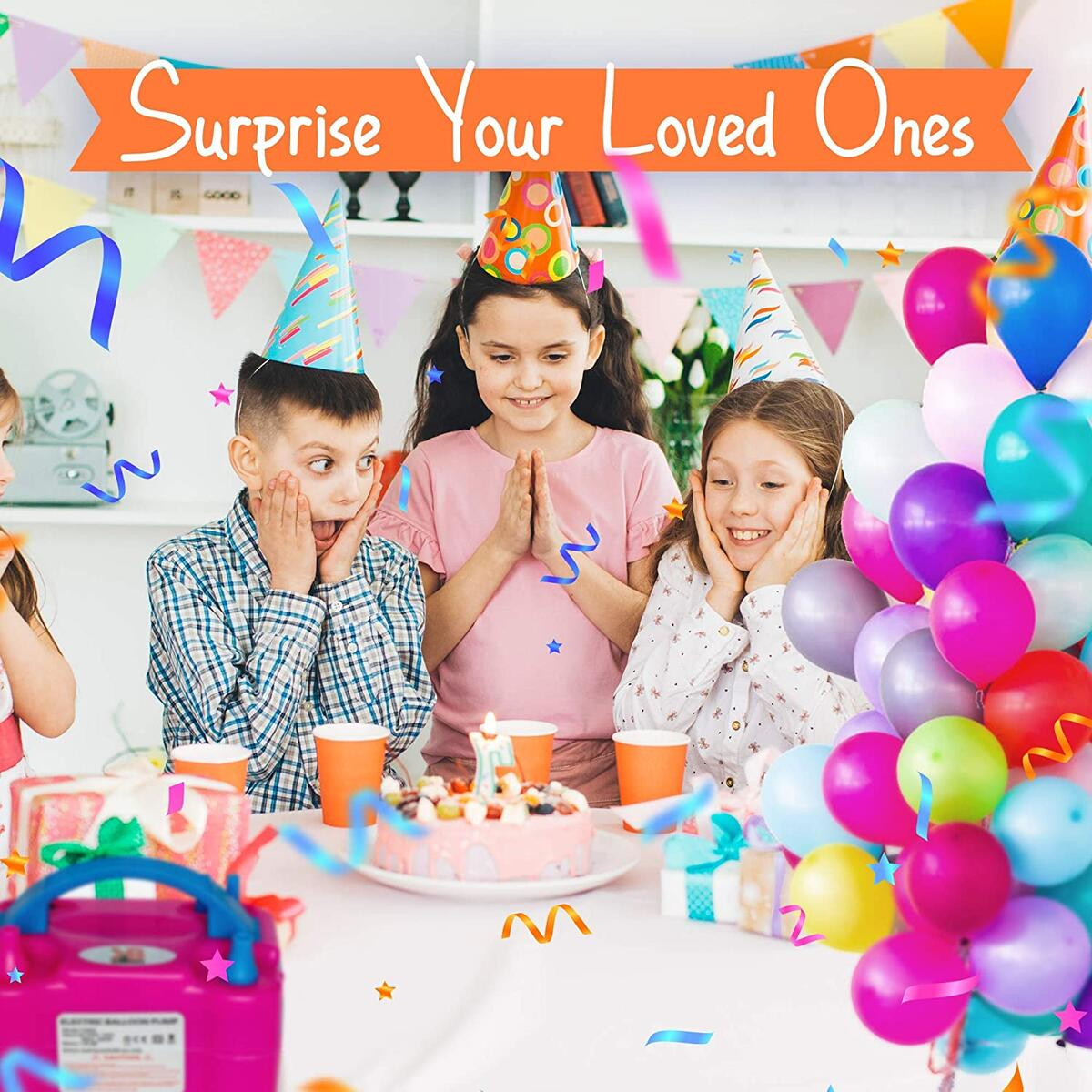 Balloon Pump Kit, Electric Balloon Air Pump, Balloon Inflator Pump Electric 110V 600W Portable Dual Nozzles Ballon Pump with 80 Balloons, Tying Tool, 10 Flower Clips, Tape Strip, Colored Ribbon and Dot Glues, Birthday Party Balloons…