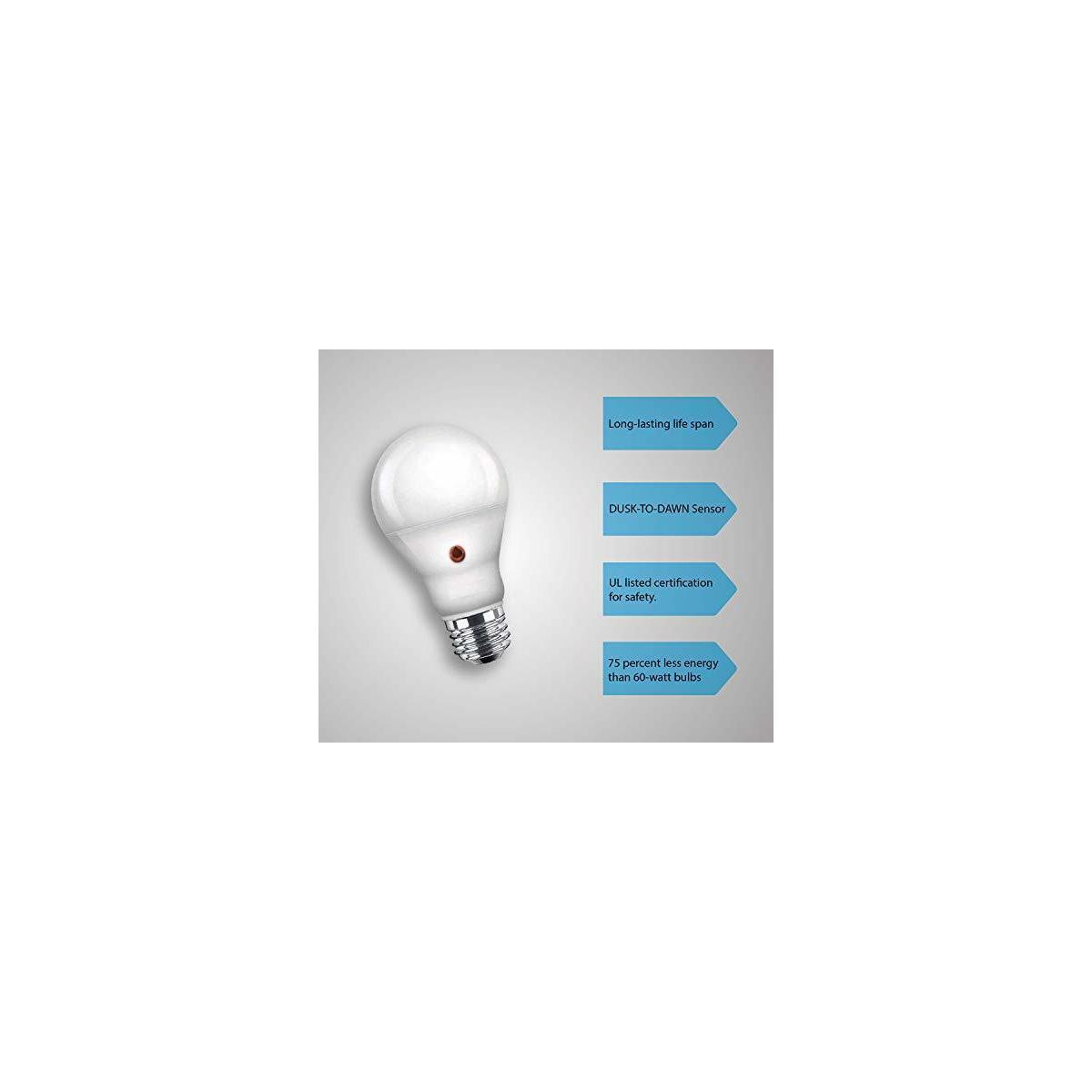 Led Dusk to dawn outdoor/Indoor lighting bulbs, Built in light sensor that turns the lights on automatically when the sun goes down and turns the light off when the sun rises.