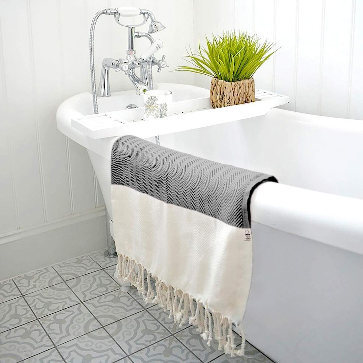 Herringbone Turkish Towel 100% Cotton Beach Towel 74x35 inch (BLACK)