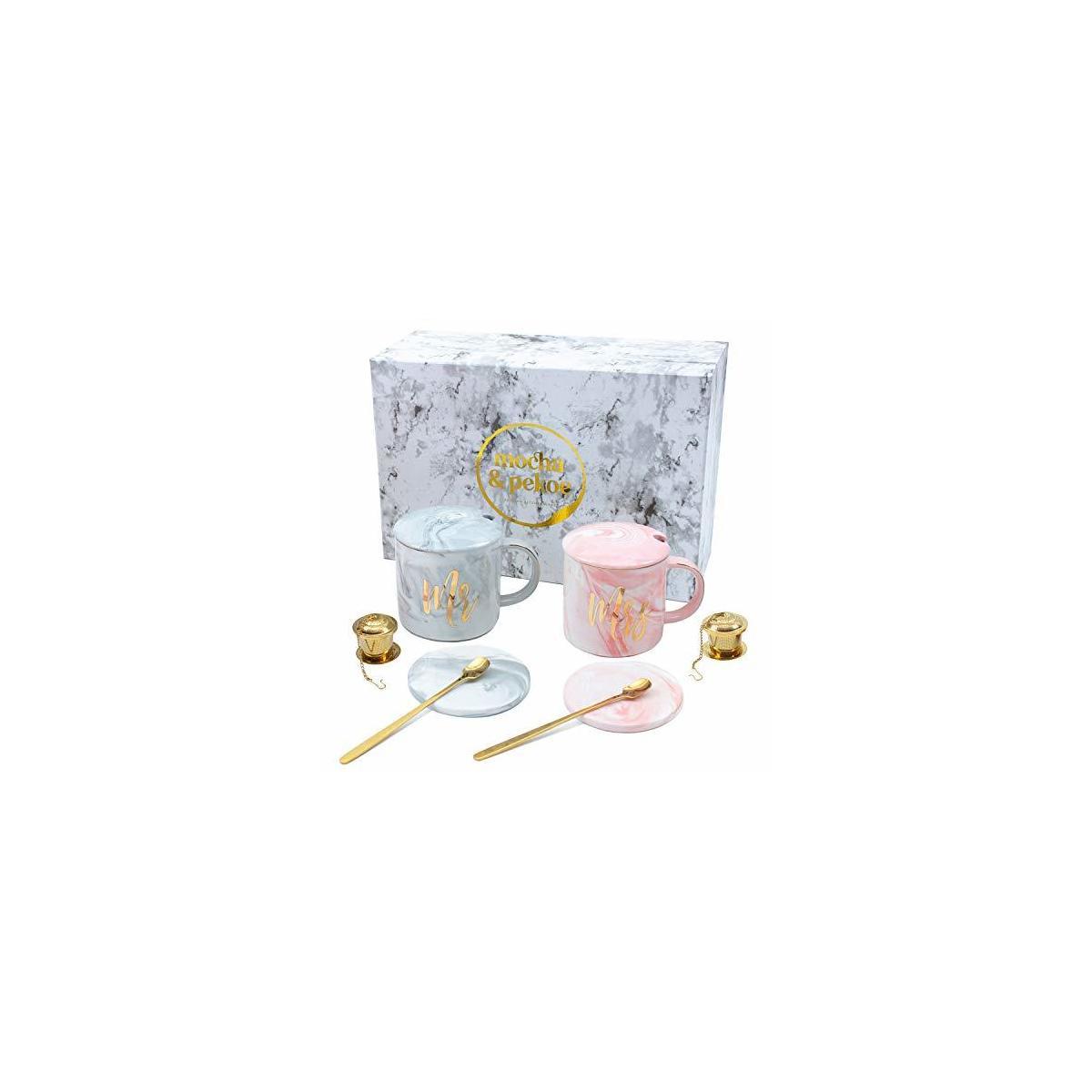 Cute Mr & Mrs Mugs Set w/ Gift Bag & Gift Box - Wedding Anniversary Bridal Shower Engagement Housewarming His Her Coffee & Tea Couples Gifts