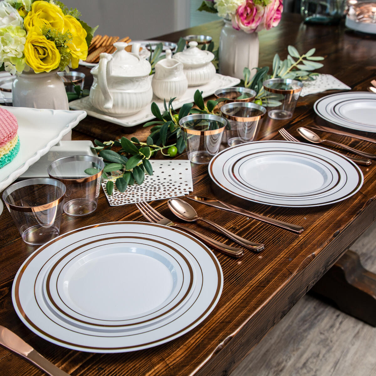 *On SALE* Elegant ROSE GOLD Disposable Dinnerware Set for 26 Guests 156 Pieces (eBay)