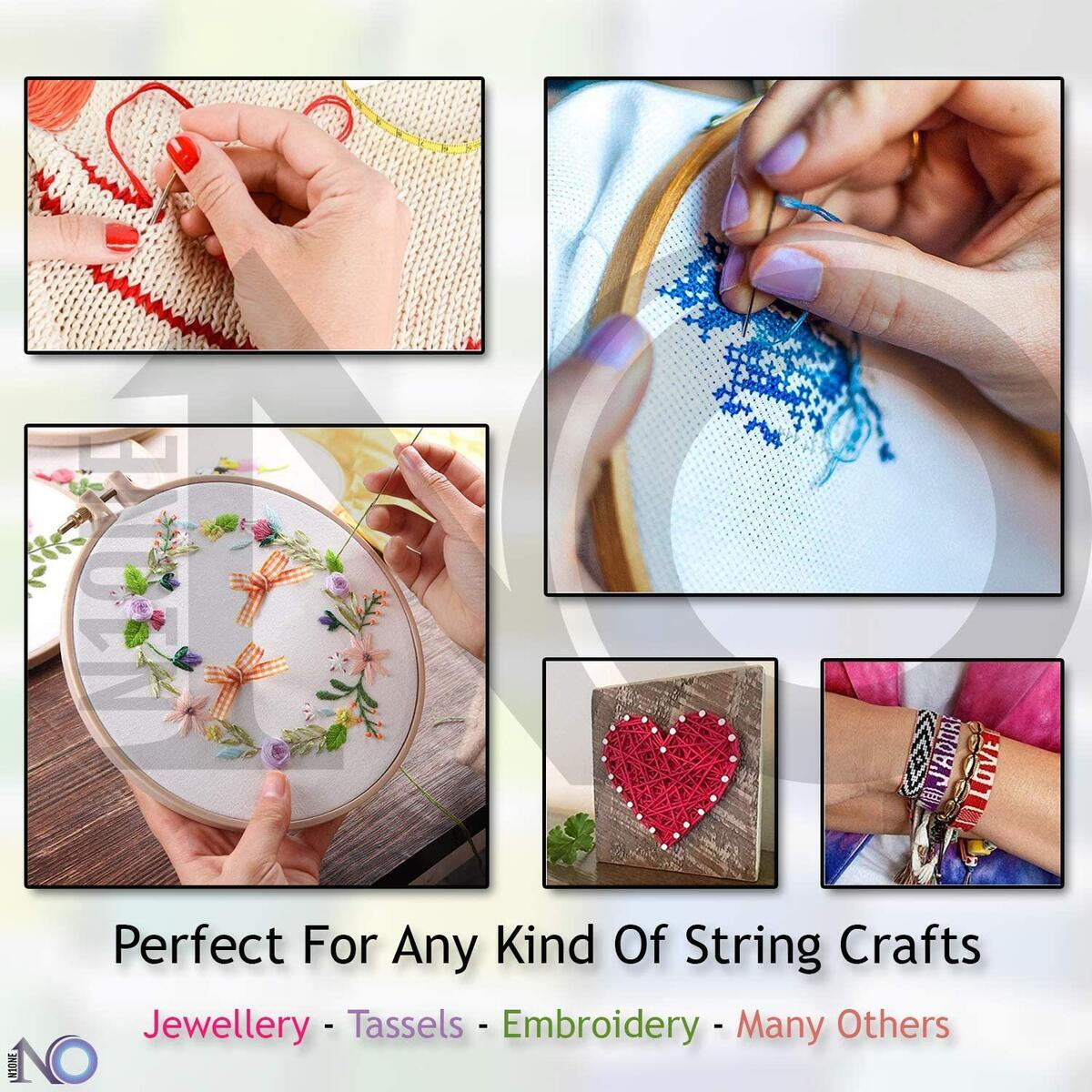 Embroidery Floss Kit for Beginners Friendship Bracelet String Set, 253 Pcs Including 50 Pcs Small Beads for Bracelets, 150 String for Bracelets, 51 Pcs Cross Stitch Kits, 2 x Aida Cloth, 2 x Hoop