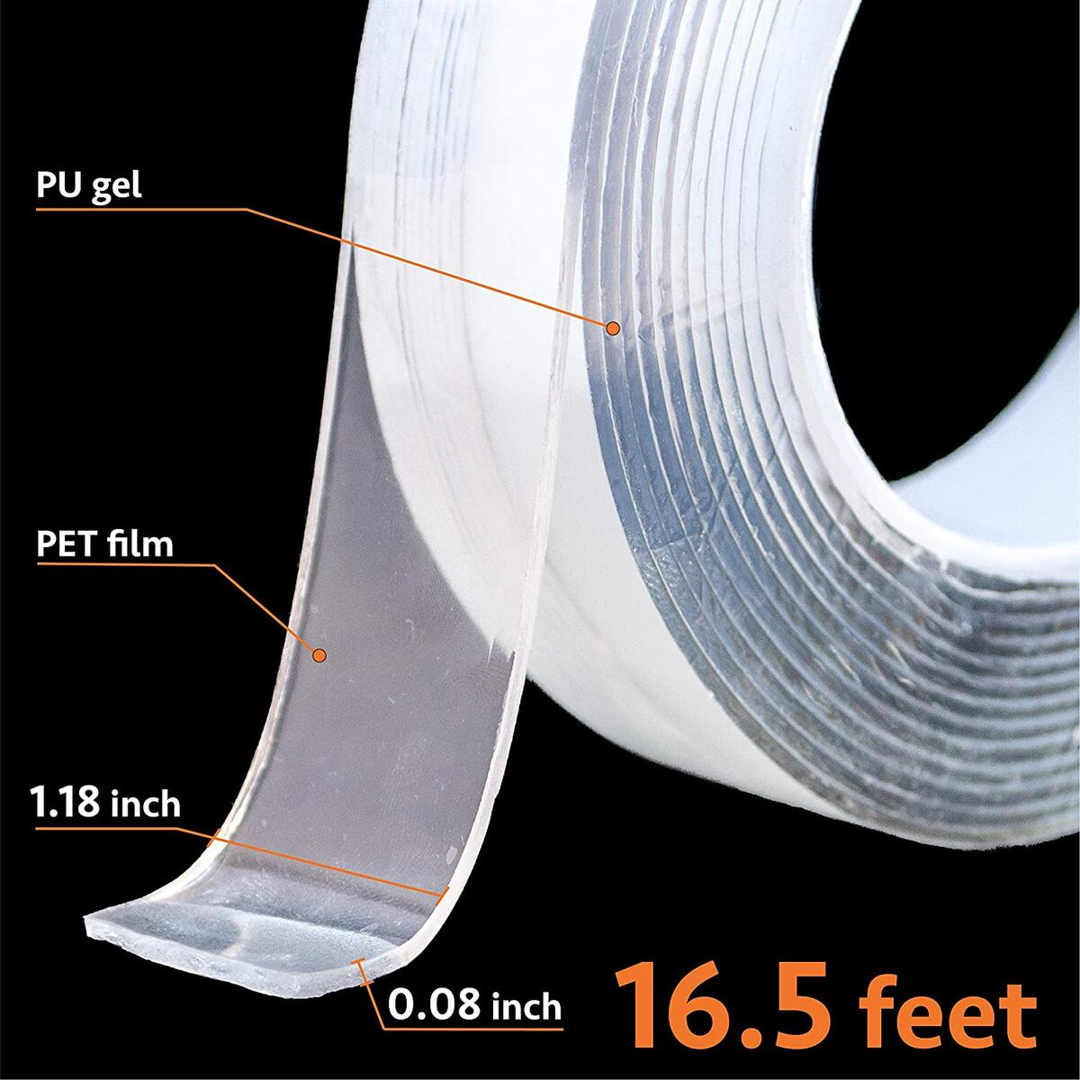 T-Side Double Sided Tape Heavy Duty(16.5FT) Poster Tape Carpet Tape Adhesive Tape Removable Mounting Tape, Washable Strong Wall Tape Strips Transparent for All House and Outdoor Tape Double Sided