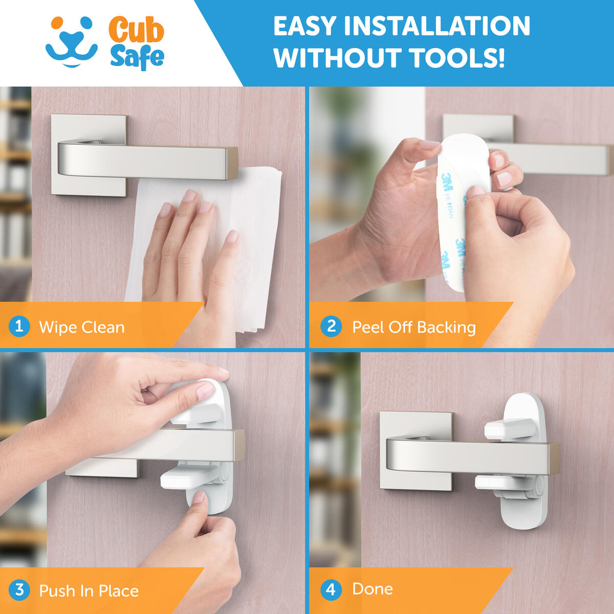 Improved Childproof Door Lever Lock (4 Pcs) and Multipurpose Safety Straps (4 Pcs) with Adjustable Strap and 3M Adhesive.