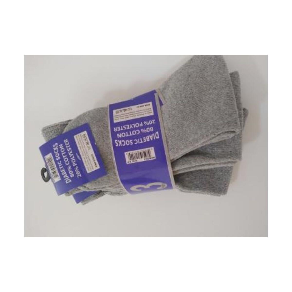 3 Prs Diabetic Ankle Socks Grey Size For Men and Women Size XL 10-13