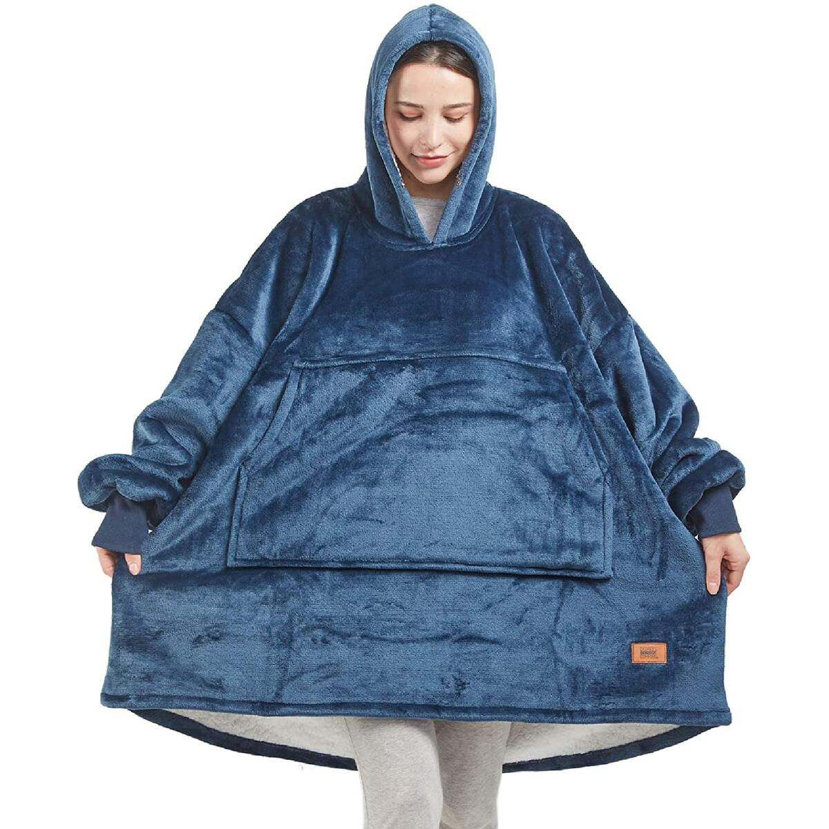 ADULT SIZE ONLY any color [Degrees Of Comfort] Blanket Hoodie Women & Men | Cool Birthday Gifts Ideas, Soft Microfiber Fleece and Fuzzy Sherpa Wearable Blanket Sweatshirt for Camping, One Size Fits All, Any Color ADULT SIZE ONLY