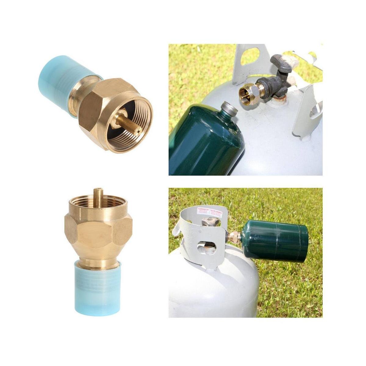 1lb Propane Disposable Tank Refill Adapter - Universal Connection with 20 lb to 1 lb Propane Cylinder - Solid Brass Valve with Protection