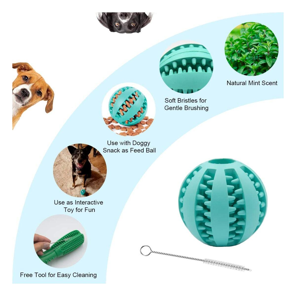 Dog Toothbrush IQ Treat Ball – 2-in-1 Interactive Tooth Cleaning Stick and Treat Ball Kit - Natural BPA Free Oral Dental Care Durable Bite Resistant Chew Toy with Non-toxic Food Dispenser Fetch Ball