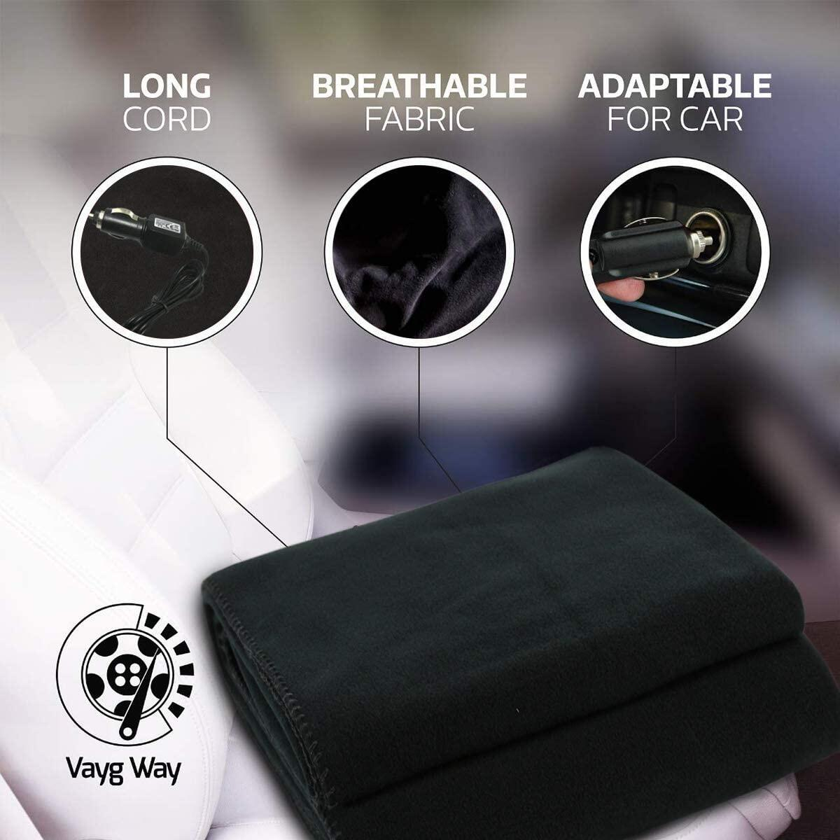 VaygWay Electric Heated Car Blanket – 12 Volt Fleece Travel Blanket – Throw for Car Truck RVs – Heating Blanket for Cold Weathers – Portable 12V Heated Throw Blanket