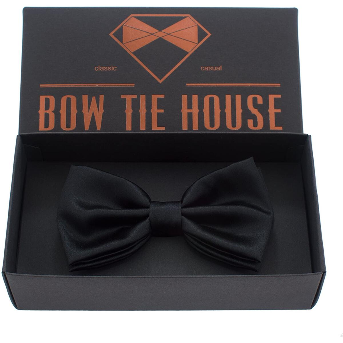 Real Silk Classic Pre-Tied Bow Tie , by Bow Tie House (Large, Black)