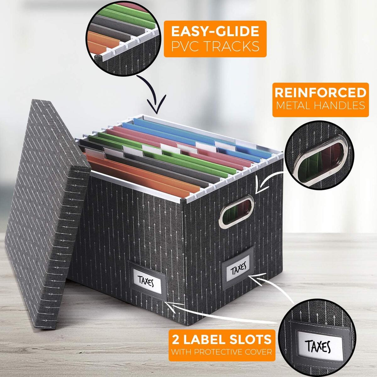 Collapsible File Box Organizer [Set of 2, Charcoal - Arrows Pattern]