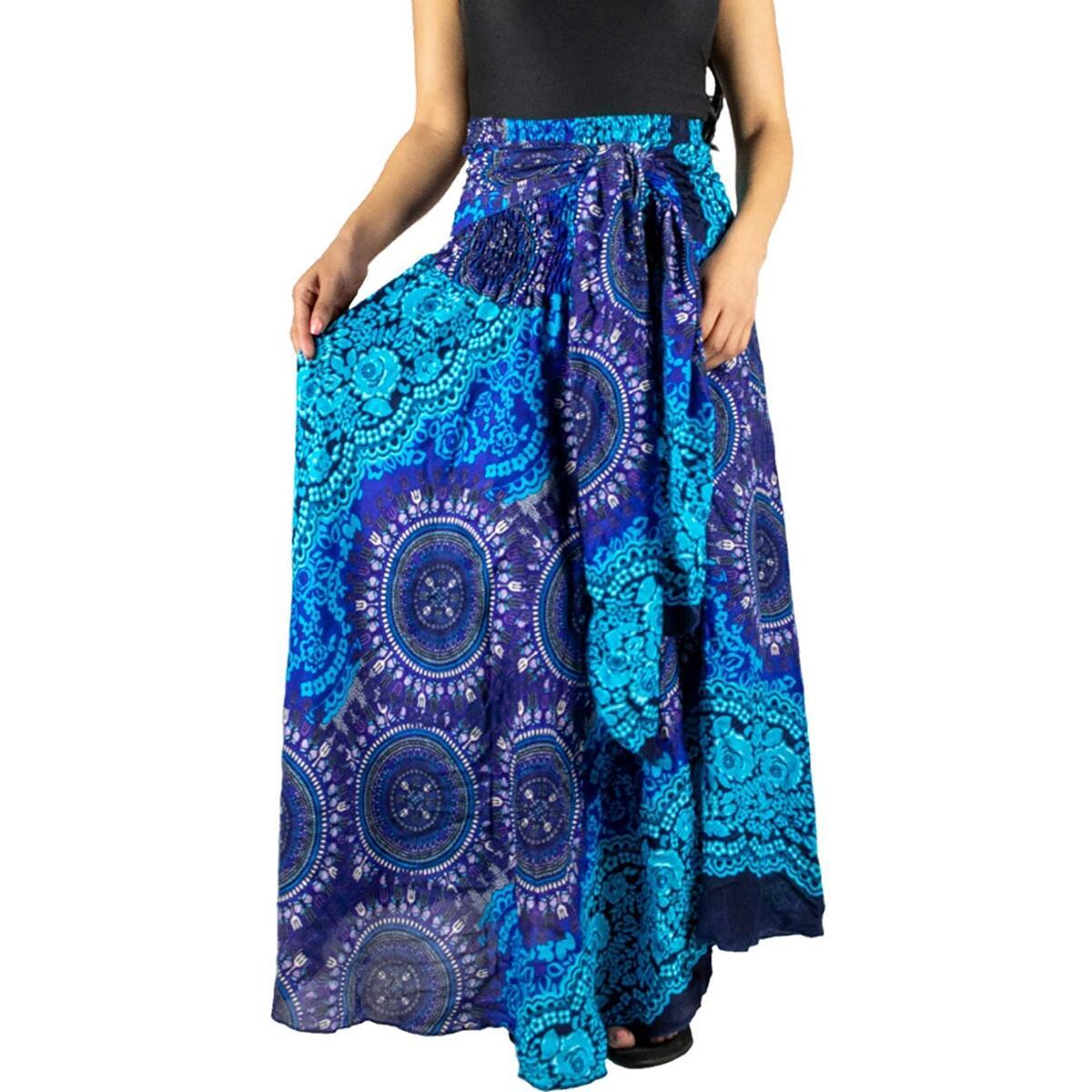 Happy Trunks Long Maxi Skirts for Women Gypsy Hippie Clothes Bohemian Boho Dress Plus (Blue S-M)