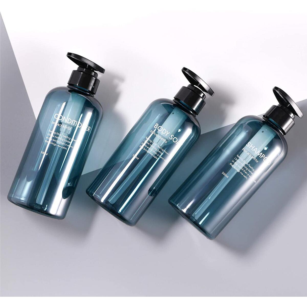 homyhomi Pump Lotion Bottles, 3 PCS Plastic Pump Bottle Dispenser 16.9oz/500ml Empty Refillable Lotion Pump Bottle Set for Body Soap Shampoo Conditioner Lotion Dispenser with Pump-Blue (Blue, 500ml)