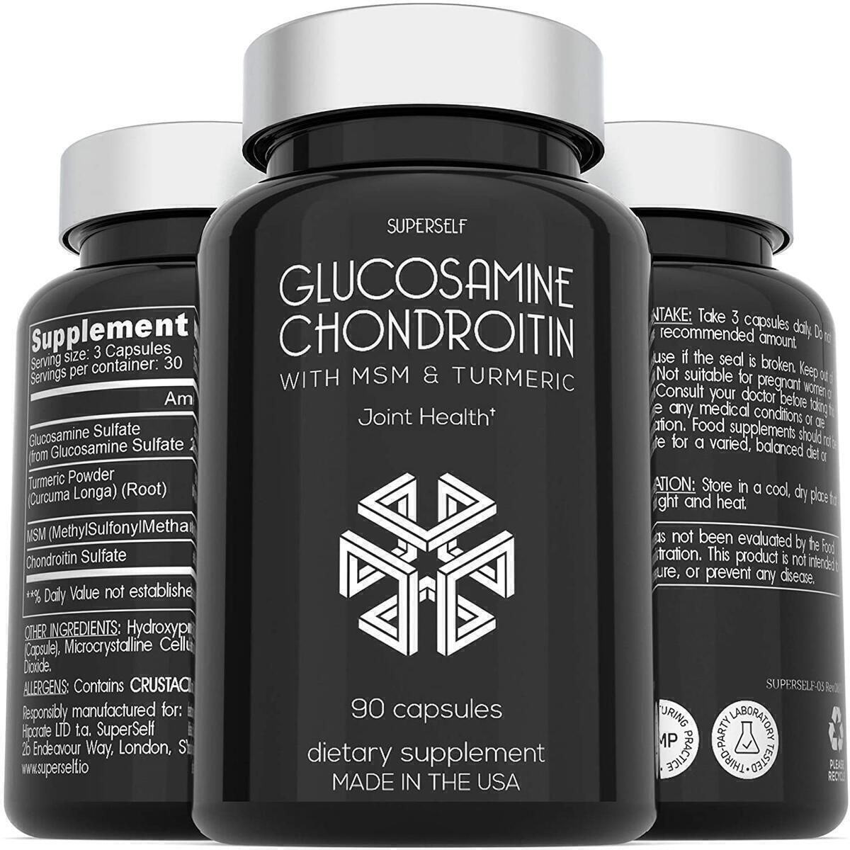 Glucosamine Chondroitin MSM with Turmeric - High Strength Joint Support Supplement for Adults - 90 Capsules - 1500mg