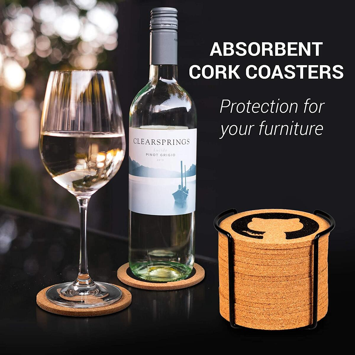 Simon Cork Coasters with Metal Stand Set – Pack of 16 Coasters – Funny Drink Glass Bar or Coffee Coasters – Moisture Absorbing – Cork Table Coasters with Holder – Tabletop Protection