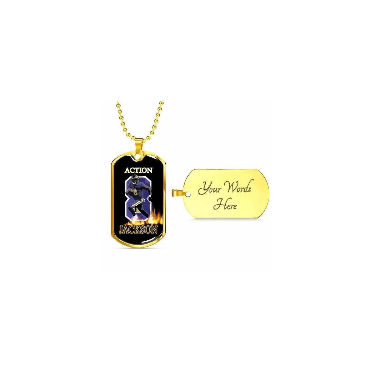 Action Jackson Ravens Football MVP QB Baltimore Fan Gold Dog Tag Necklace