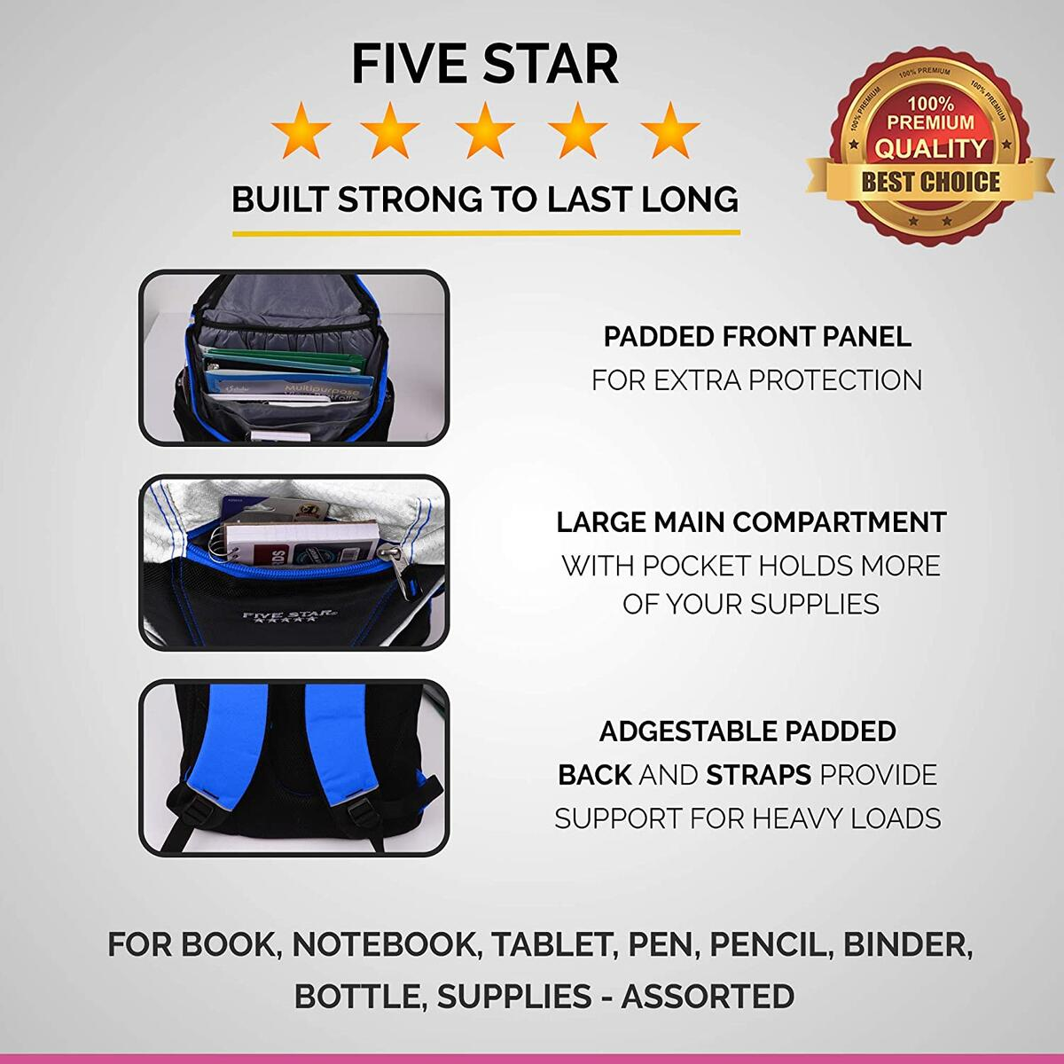 School & Travel Backpack, Compartments Many Sizes for Books & Laptops (Blue)
