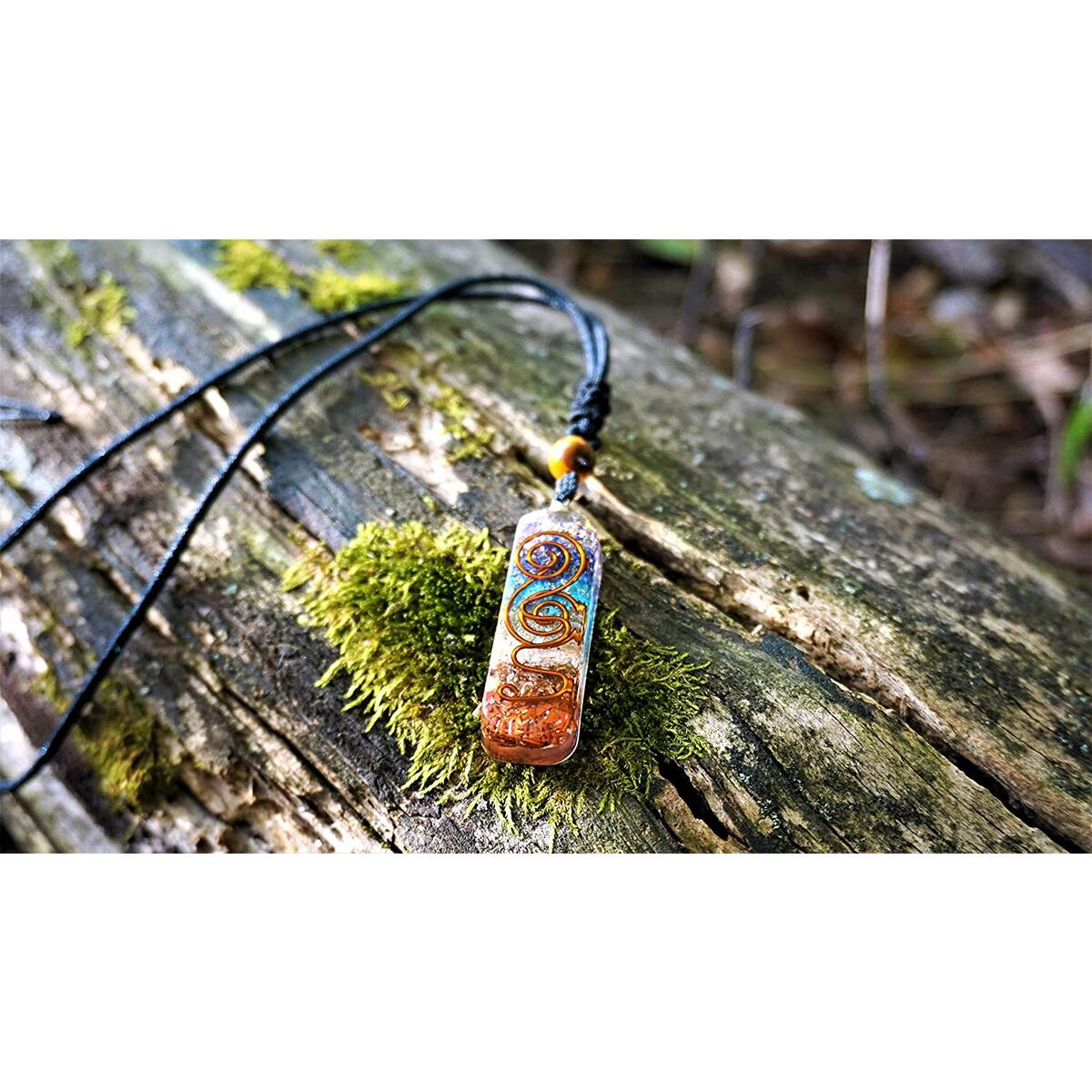 Healing Crystals Necklace with Adjustable Chord - 7 Healing Energy Chakra Crystals with EMF Protection